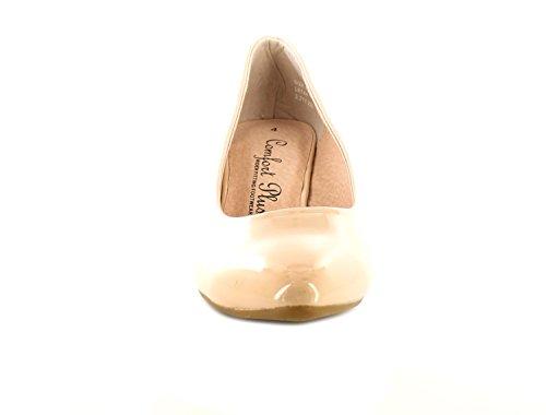 Neuf Pour Femmes/Femmes Couleur chair Verni Coupe Large Escarpin Talon Bobine - couleur chair - TAILLES UK 3-8