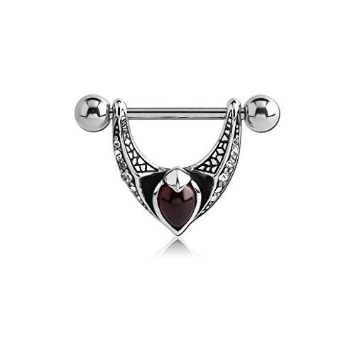Bubble Body Piercing (1 Piece, not a Pair Surgical Steel Kool Katana Jeweled Nipple Shield with Garnet - Wings Gauge: 14g