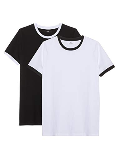 find. Men's Solid Round Collar Short Sleeve T-shirt, Pack of 2, Multicolor (Black/White) M