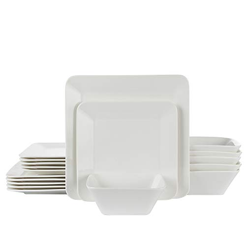 White Classic Plate Dinner (Porlien 18-Piece Dinnerware Set, Pure White, Square, Service for 6)
