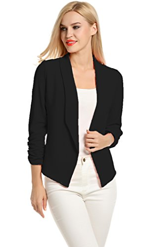 - POGT Women 3/4 Sleeve Blazer Open Front Cardigan Jacket Work Office Blazer (M, Black)
