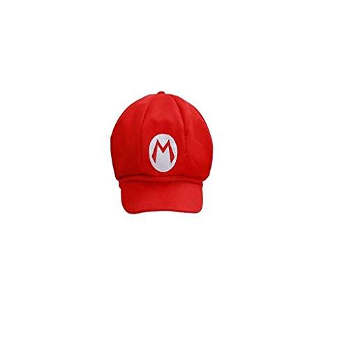 Doiber 1 pc Classical Super Bro Hat Cap for Halloween Costume Unisex (Red) -