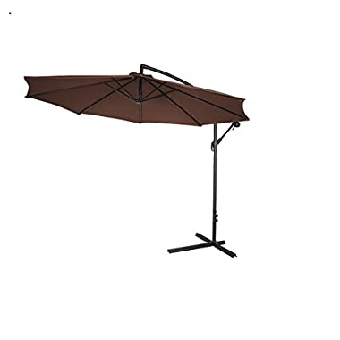 10' Deluxe Polyester Offset Patio Umbrella by Home & Comfort (Dark Brown)