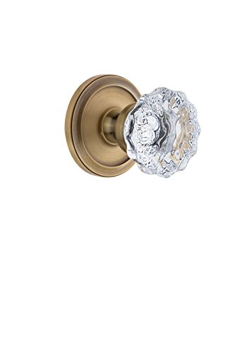 Grandeur 810585 Circulaire Rosette Double Dummy with Fontainebleau Crystal Knob in Vintage Brass