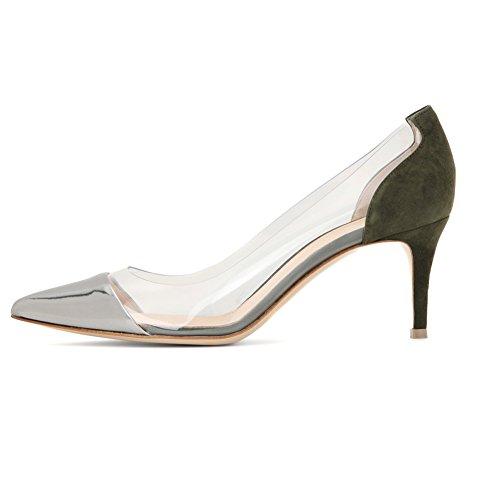 Edefs Scarpe Da Donna Gattini Tacco A Spillo Trasparente Con Tacco Medio Scarpe Da Sposa Partito Argento