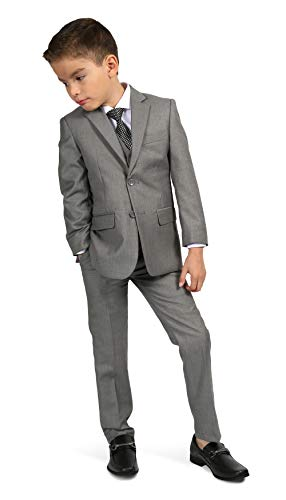 Ferrecci Boys Jax Jr Modern Fit Notch Lapel 5 Piece Suit Set Light Grey Size 6]()