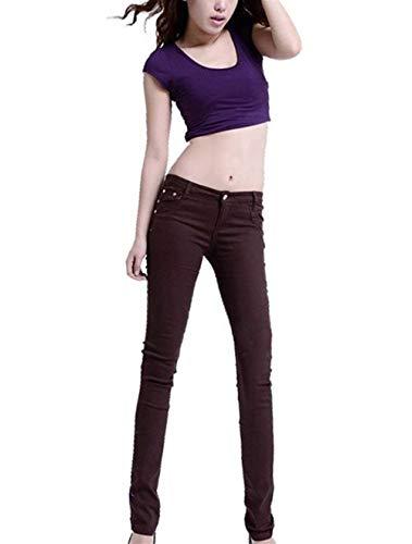 w71cm Pantalon Vêtements Mode 28 Unie En Couleur Devant Chics Yasminey Poches Crayon De Taille Jeans DécontractécolorKaffeebraunSize Maigre Haute Denim eroWCQdxBE