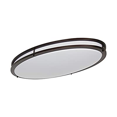 "LB72134 LED Flush Mount Ceiling Lighting Oval, Oil Rubbed Bronze, 32-Inch, 35W, 250W Equivalent, 3000K Warm White, 2800 Lumens, ETL & DLC Listed, Energy Star, Dimmable - 35-Watt 32"" X 18"" X 4-1/4"" LED Oval Ceiling Lighting, 3000K Warm White Glow, 2800 Lumens, 120V, Dimmable. This Stunning Oval LED Light Oil Rubbed Bronze Flush Mount is designed to blend into any decor for a clean, fresh appearance and produce uniform diffused light. Fully dimmable, to ensure flicker free dimming Check image for compatible dimmer list. Ideal for hallways, bedrooms, offices, stairways and many more commercial or residential applications. - kitchen-dining-room-decor, kitchen-dining-room, chandeliers-lighting - 31Htek6saoL. SS400  -"