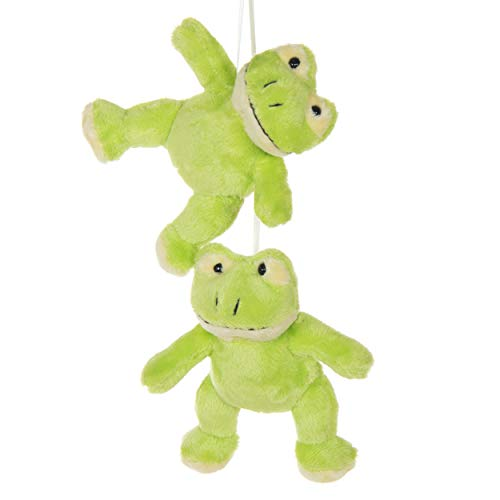(2 Pack of Green Frog Crib Mobile Attachments | Hanging Plush Animal Decorations for Baby Girl or Boy Playpen or Crib | Accessories for Use with Mobile Hanger Sold Separately)