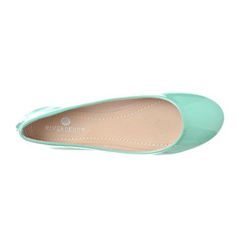 Riverberry Womens Aria Basic Chiuso Punta Rotonda Balletto Slip On Shoe Menta Patent