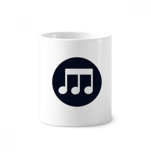 Triple-Quaver Music Notes Black Toothbrush Pen Holder Mug White Ceramic Cup 350ml