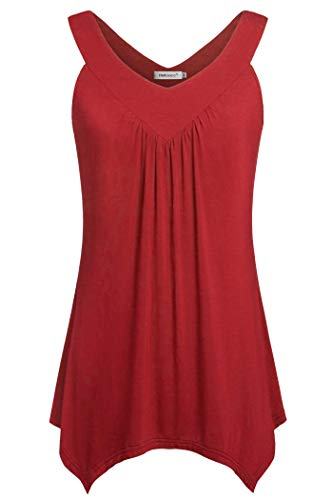 Helloacc Red Tank Tops for Women,Maternity Clothes Work Tops for Women Office Versatile Tops Holiday Wear Comfy Clothes Trendy Blouses for Women Basic Shirts Cute Tops Summer Wine Petite Size M