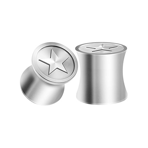 BIG GAUGES Pair 316L Surgical Steel Zero Gauge 8mm Solid Double Flared Plugs Star Logo Ear Earring Lobe Stretcher Piercing BG1076