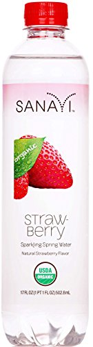 Sanavi Organic Sparkling Spring Water Bottles, Strawberry, 17 fl. oz, 12 Count by Sanavi