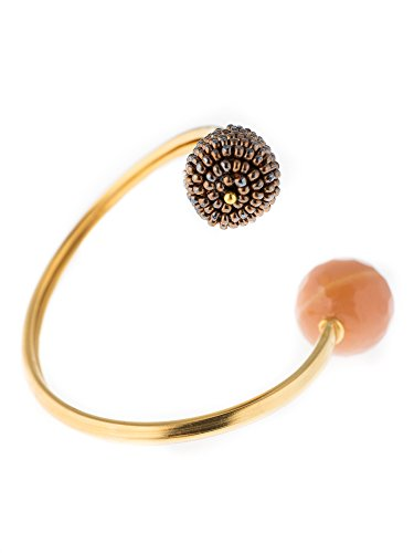 Artemisia Bracelet en argent avec finition or brossé, perles en calcédoine et bronze