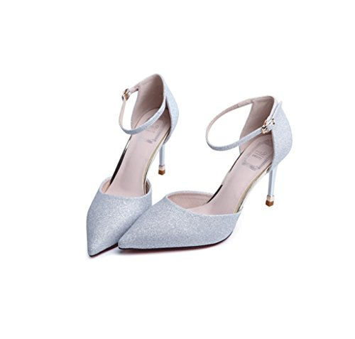 Dream Female Kitten Heel High Heels Sexy Shallow Mouth Pointed-Toe Shoes Summer Comfortable Sandals (Color : Silver, Size : 34)