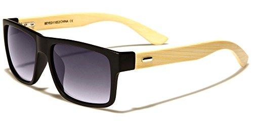 Matte Black Gray Bamboo Wood Two Tone Horned Rim Men Women Sunglasses ()