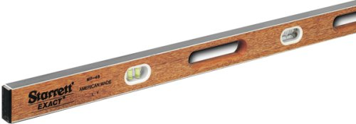 "Starrett Exact KWLXP I Beam Level– 48"" with Hand Holes (Window Mahogany Frames)"