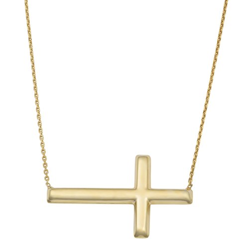 - Yellow Gold Over Sterling Silver Sideways Polished Cross Adjustable Length Necklace (18 inch)