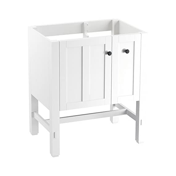 "KOHLER K-5289-1WA Tresham vanity, 30"", Linen White - Finishes resists moisture, scratches and stains One door and two drawers Three-way adjustable slow-close door hinges with 100-degree opening capability for easy cabinet access - bathroom-vanities, bathroom-fixtures-hardware, bathroom - 31Htr %2BGUxL. SS570  -"