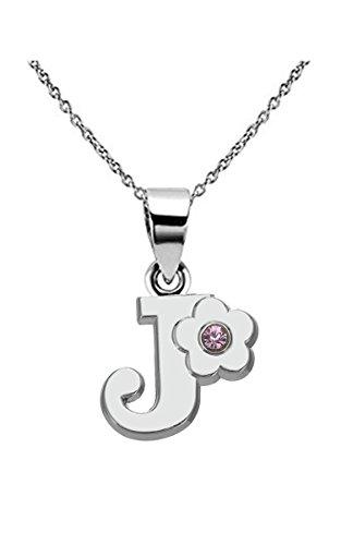 Kebaner Letter Initial Alphabet J Pendant Necklace Pink Crystal Flower Script Word Jewelry