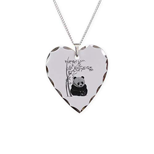 CafePress Little Panda Charm Necklace with Heart Pendant