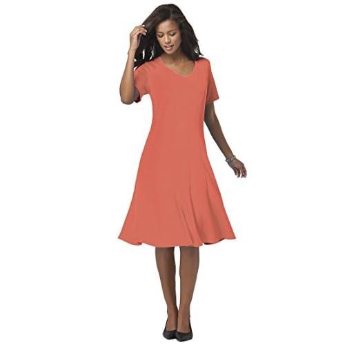 c028e35f84be6 new Roamans Women s Plus Size V-Neck Fit   Flared Dress - willward1.com