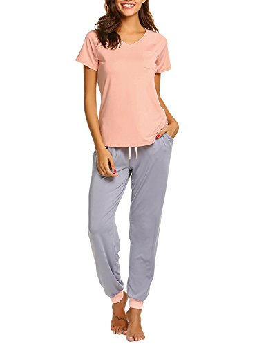 Elastic Waist Short Sleeve Pajama Set (Ekouaer Womens Modal Pajamas Short Sleeve V-neck Shirt Elastic Waist Long Pants PJs Sleepwear Set,A-pink,Large)