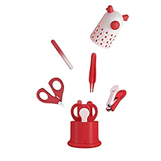 MYVINI Baby Nail Kit, Baby Nail Care Set 4-in-1, Baby Nail Clipper, Glass File, Safety Scissors, Round Mouth Safety Pliers(Red Fawn)