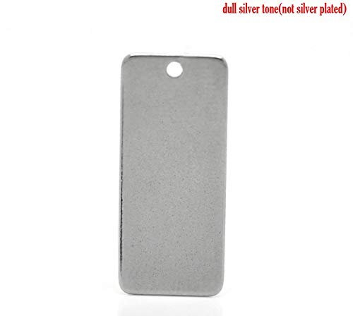 Tone Rectangle Pendant - Stainless Steel Charm Pendants | Rectangle Silver Tone 21mm(7/8