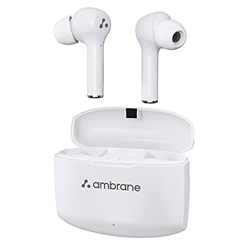 Ambrane NeoBuds 33 True Wireless Earbuds TWS with 15 Hours Total Playtime, High Bass Immersive Sound, Touch Controls, IPX4 Waterproof, Voice Assistance & inbuilt Mic (White), Normal