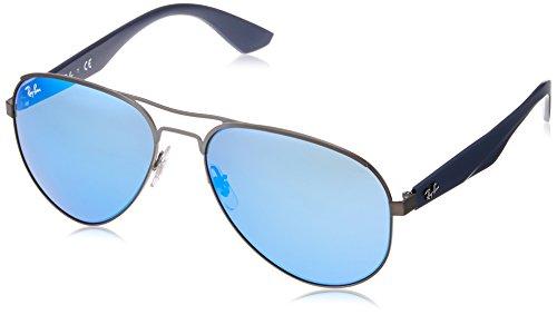 87b628f941eaef Ray-Ban Lunettes de soleil aviateur en mat Gunmetal miroir vert bleu RB3523  029