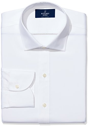 BUTTONED DOWN Men's Slim Fit Spread-Collar Non-Iron Dress Shirt (No Pocket), White, 16