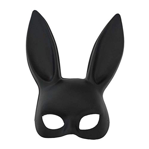 Black Adult Bunny Ear Rabbit Mask for Women's Masquerade Birthday Easter Halloween Eve Party Costume Accessory