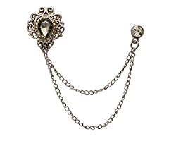 Champagne Stone With Silver Engraving Metal Chain Crystal Brooch Collar Pin
