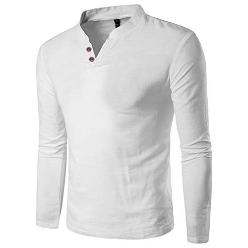 Price comparison product image Men Handsome Autumn Winter Casual Splicing Button Long Sleeve V Neck T Shirt Man Top Pullover (X-Large,  White)