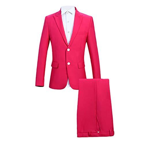 Leegor Men Premium Suit Super Skinny Suit in Pink 2-Piece, Full Dress Blazer+Pant+Vest Party Suit