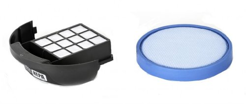 (Hoover HEPA Exhaust 411018001 and 304087001 Blue Circular Washable Primary Filter Kit for Elite Rewind Bagless Uprights. OEM Hoover Filters)