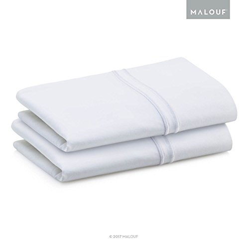 MALOUF WOVEN SUPIMA Premium Cotton Pillowcases - 100 Percent American Grown - Extra Long Staple - Sateen Weave - Single Ply - 600 Thread Count - Queen - (600 Supima Set)