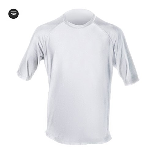 Loose Fit Swim Shirts For Men - Short Sleeve UV 50 + Sun Protection Swimwear - Play In The Sun All Day With No Sunburn - The Softest Most Comfortable Swimming Clothing (White, XL)