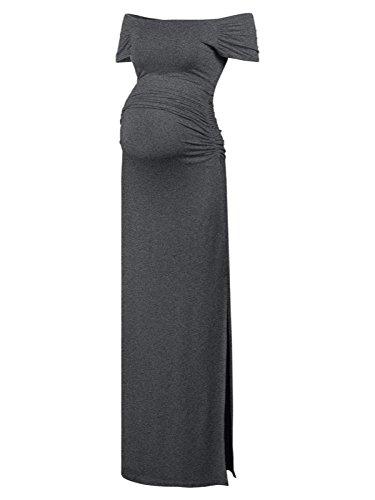 Black Cherry Women's Off Shoulder Short Sleeve Maternity Casual Maxi Dress Deep Grey (Large Cherry Black)