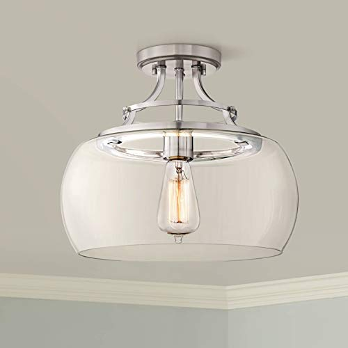 (Charleston Rustic Farmhouse Ceiling Light Semi Flush Mount Fixture LED Edison Brushed Nickel 13 1/2