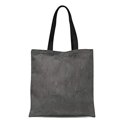 Semtomn Canvas Tote Bag Shoulder Bags Gray Marble Dark Grey Slate Abstract Black Stone Blank Women's Handle Shoulder Tote Shopper Handbag