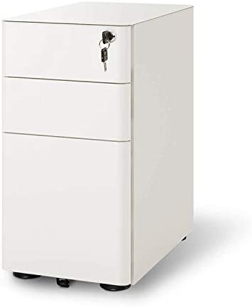 DEVAISE 3-Drawer Slim Locking File Cabinet, Fully Assembled Except Casters, Legal Letter Size, White
