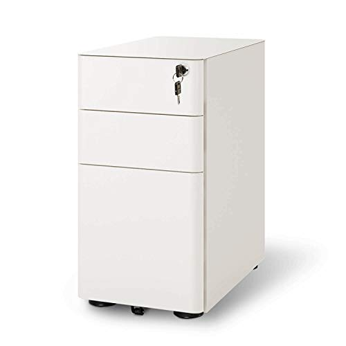 DEVAISE 3-Drawer Slim Locking File Cabinet, Fully Assembled Except Casters, Legal/Letter Size, White (Vertical 3 Drawer File)