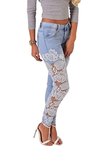 Pantalon Long vider Haute Dentelle Taille Bleu Simgahuva Femmes Jeans Serr Pantalon q0O78Yx