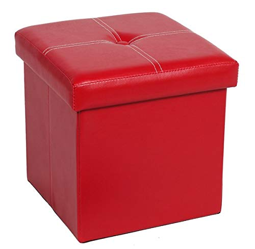 FSOBEIIALEO Folding Storage Ottoman, Faux Leather Footrest Seat Coffee Table Toy Chest for Kids, Red 11.8