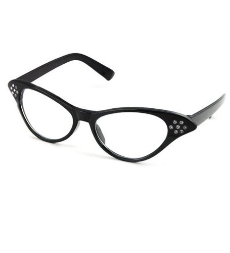Cat Eye Glasses - Black Rhinestone 50s Cateye Party Spectacles - Funny Party - To Dress Fun As Up Celebrities