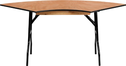 Flash Furniture 5.5 ft. x 2.5 ft. Serpentine Wood Folding Banquet Table 0.5' End Outlet