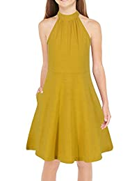 GORLYA Girl's Halter Neck Cold Shoulder Sleeveless Summer Casual Sundress A-line Dress with Pockets for 4-12 Years